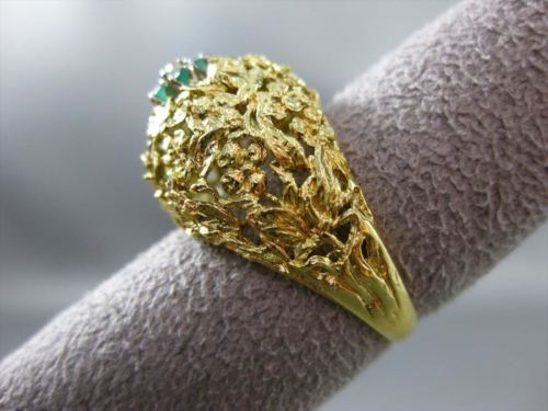 ANTIQUE LARGE DIAMOND & AAA EMERALD 18K 2 TONE GOLD FILIGREE CLUSTER RING #21452