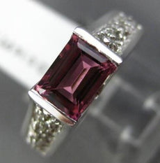 1.16CT DIAMOND & AAA EMERALD CUT PINK TOURMALINE 14KT WHITE GOLD ENGAGEMENT RING