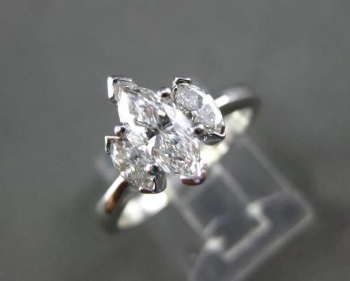 ESTATE 1.08CT MARQUISE DIAMOND 14KT WHITE GOLD 3 STONE ENGAGEMENT RING #22155
