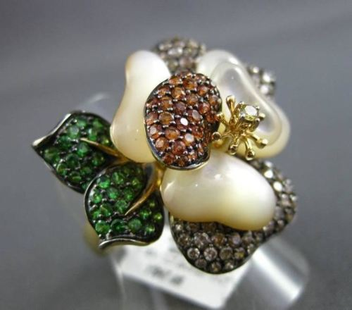 ANTIQUE 3.7CT MULTI DIAMOND & GEM MOTHER OF PEARL 18K YELLOW GOLD 3D FLOWER RING