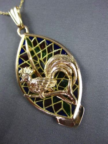 ANTIQUE LARGE VENETIAN GLASS 14KT YELLOW GOLD ROOSTER BIRD FLOATING PENDANT 2987