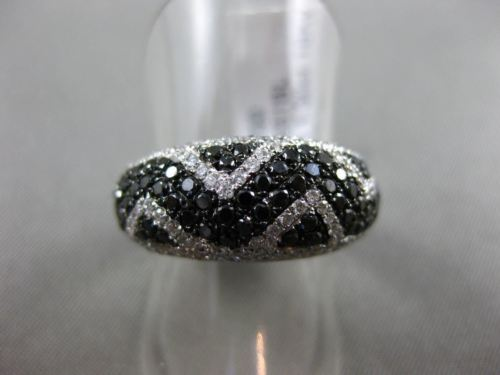 ESTATE 1.30CT WHITE & BLACK DIAMOND 18KT WHITE GOLD 3D ZIG ZAG WAVE WEDDING RING