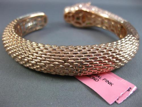 LARGE 11.11CT WHITE & PINK DIAMOND 18K WHITE & ROSE GOLD PANTHER BANGLE BRACELET