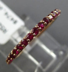 ESTATE .43CT RUBY 14KT ROSE GOLD CLASSIC SEMI ETERNITY WEDDING ANNIVERSARY RING