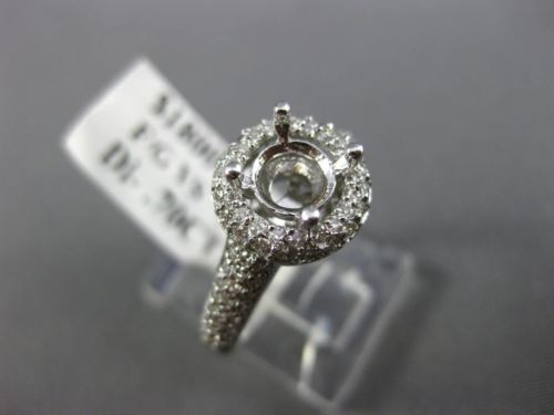 WIDE .80CT DIAMOND 14K WHITE GOLD 3D SQUARE PAVE SEMI MOUNT ENGAGEMENT RING 1561