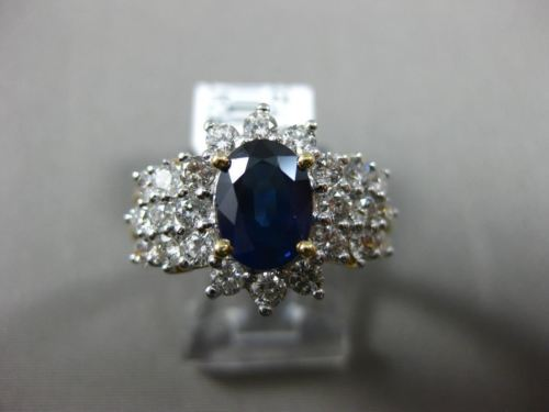 ESTATE WIDE 2.93CT DIAMOND & SAPPHIRE 18KT TWO TONE GOLD 3D HALO ENGAGEMENT RING
