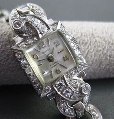 ANTIQUE 2.75CT OLD MINE DIAMOND PLATINUM & 14KT WHITE GOLD CORTINA WATCH #1959