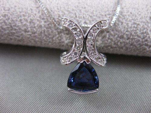 ANTIQUE 2.36CTW DIAMOND TRILLION SAPPHIRE 18K WHITE GOLD SLIDE PENDANT #10391