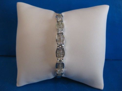 ANTIQUE 2.85CTW DIAMOND WAVE 14K TWHITE GOLD HINGE BANGLE BRACELET F/G VVS #1047