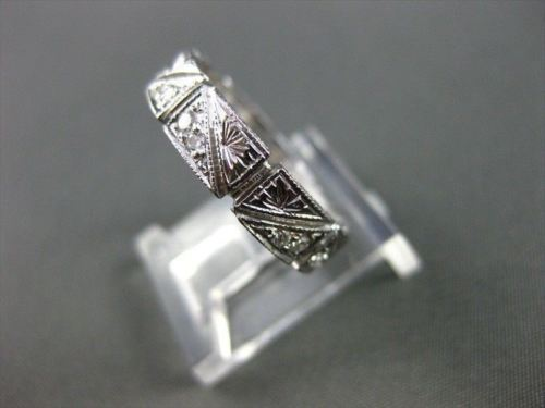 ANTIQUE WIDE .35CT DIAMOND 18KT WHITE GOLD FILIGREE SQUARE ETERNITY RING 9253