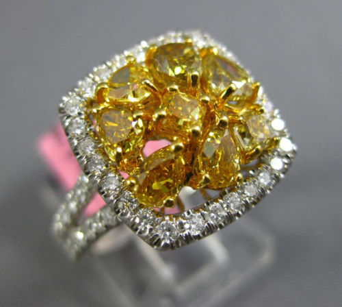 ESTATE WIDE 2.47CT WHITE & FANCY YELLOW DIAMOND 18K WHITE GOLD HALO CLUSTER RING