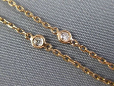 LONG .21CT DIAMOND 14K ROSE GOLD 3D SEVEN STONE BY THE YARD BEZEL ANKEL BRACELET