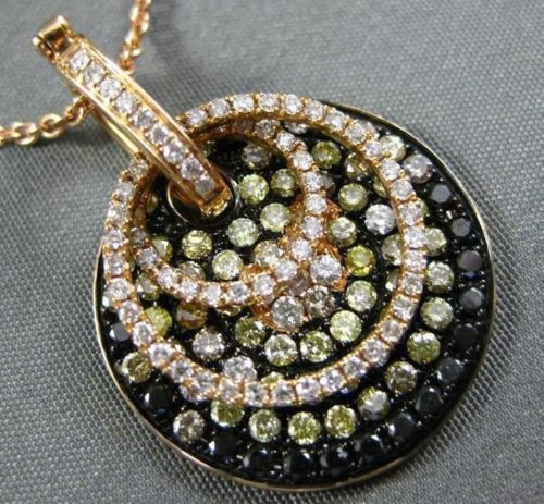LARGE 1.87CT FANCY COLOR DIAMOND 18KT ROSE & BLACK GOLD 3D PAVE CIRCULAR PENDANT