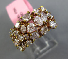 ESTATE WIDE 3.81CT PINK DIAMOND 18KT ROSE GOLD 3D MULTI SHAPE ANNIVERSARY RING
