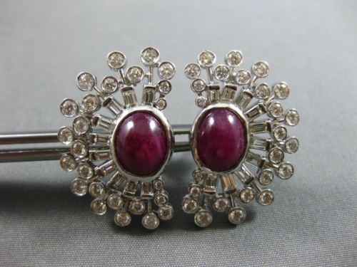LARGE 7.02CT ROUND & BAGUETTE DIAMOND & CABOCHON RUBY 14K WHITE GOLD 3D EARRINGS