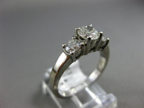 ESTATE 1.10CT DIAMOND 14K WHITE GOLD 3D PAST PRESENT FUTURE ENGAGEMENT RING 1030