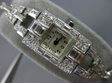 ANTIQUE LONGINES 3.44CT DIAMOND & SAPPHIRE PLATINUM & 14K WHITE GOLD WATCH 25285