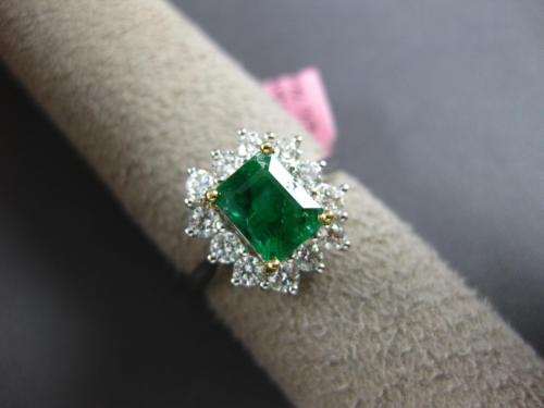 ESTATE 2.06CT DIAMOND & AAA EMERALD 18KT 2 TONE GOLD FLOWER HALO ENGAGEMENT RING