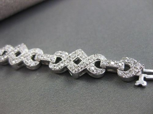ANTIQUE WIDE 2.97CT DIAMOND FILIGREE 14K WHITE GOLD TENNIS BRACELET F/G VS 21888