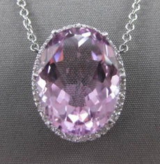 ESTATE 9.34CTW DIAMOND & AAA PINK TOPAZ 14KT WHITE GOLD HALO FLOATING NECKLACE