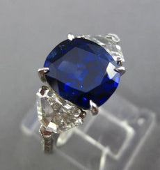 LARGE CERTIFIED 5.35CT DIAMOND & SAPPHIRE NONE HEATED PLATINUM ENGAGEMENT RING