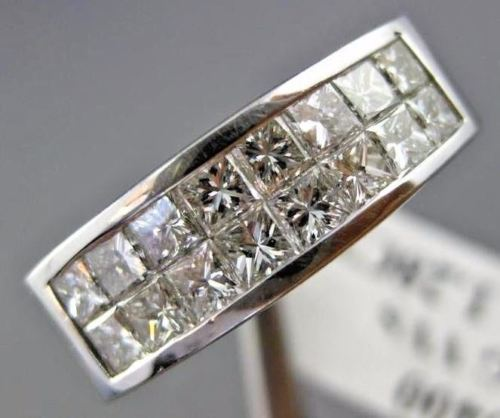 1.28CT PRINCESS DIAMOND 14KT WHITE GOLD INVISIBLE TWO ROW ANNIVERSARY RING #1175