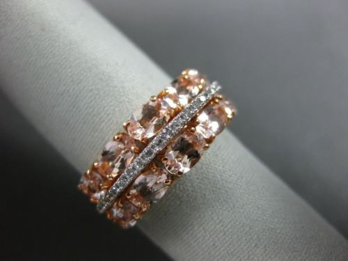 ESTATE 2.10CT DIAMOND & AAA MORGANITE 14KT WHITE GOLD THREE ROW ANNIVERSARY RING