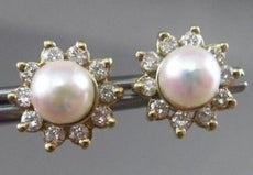 ESTATE .60CT DIAMOND & AAA SOUTH SEA PEARL 14KT Y GOLD EARRING W/ JACKETS #22321