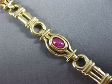 ESTATE WIDE 14K YELLOW GOLD ONYX RUBY EMERALD & SAPPHIRE CABOCHON BRACELET 22612