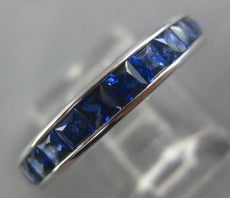ESTATE 3CT AAA SAPPHIRE 14KT WHITE GOLD SQUARE ETERNITY WEDDING ANNIVERSARY RING