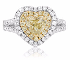 EGL 3.64CT WHITE & FANCY YELLOW DIAMOND 18KT 2 TONE GOLD CLASSIC ENGAGEMENT RING