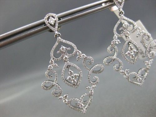 ANTIQUE LARGE 1.99CT DIAMOND 14KT W GOLD FILIGREE FLORAL DROP EARRINGS STUNNING!