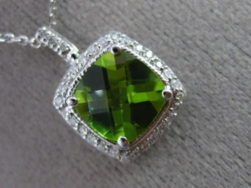 ESTATE 2.20CT DIAMOND & PERIDOT 14K WHITE GOLD MILGRAIN CLASSIC FLOATING PENDANT