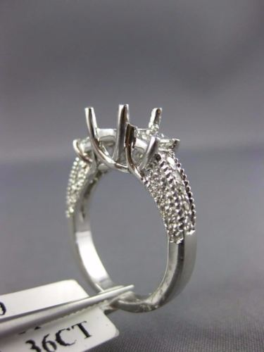.76CT ROUND & PRINCESS DIAMOND 14K WHITE GOLD 3D SEMI MOUNT ENGAGEMENT RING 1609