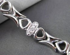 ESTATE WIDE & LONG .54CT DIAMOND 14KT WHITE GOLD 3D MULTI HEART LOVE BRACELET