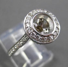 ESTATE .30CT DIAMOND 14K WHITE GOLD HALO BEZEL SEMI MOUNT ENGAGEMENT RING #19230