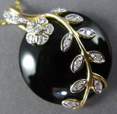 ESTATE LARGE .35CT DIAMOND & ONYX 14K WHITE & YELLOW GOLD 3D FLOWER LEAF PENDANT
