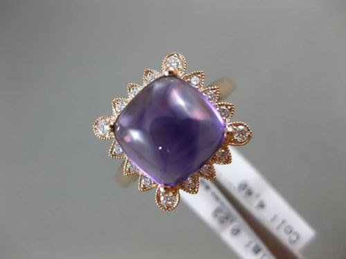 LARGE 4.63CT DIAMOND & AAA CUSHION CUT CABOCHON AMETHYST 14K ROSE GOLD HALO RING