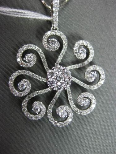 ANTIQUE 1.48CT DIAMOND 18K WHITE GOLD FLOATING FLOWER CHANDELIER PENDANT & CHAIN
