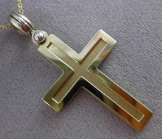 ESTATE 14KT WHITE & YELLOW GOLD 3D TRIPLE MENS CROSS FLOATING PENDANT #24287