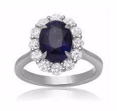 GIA CERTIFIED 4.72CT DIAMOND & AAA SAPPHIRE 18KT WHITE GOLD HALO ENGAGEMENT RING