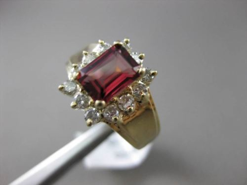 ESTATE 1.65CT DIAMOND & AAA TOURMALINE 14KT YELLOW GOLD SQUARE CUT CLUSTER RING