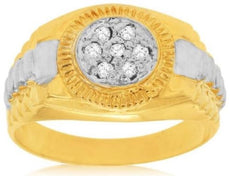 ESTATE .15CT DIAMOND 14K WHITE & YELLOW GOLD CLASSIC CLUSTER ROUND MENS FUN RING