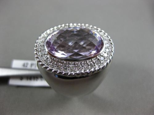 ESTATE EXTRA LARGE 8.42CT DIAMOND & AAA AMETHYST 14KT WHITE GOLD 3D OVAL RING