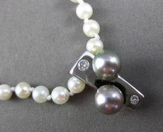 ESTATE .11CT DIAMOND 14KT TWO TONE GOLD GREY TAHITIAN & SOUTH SEA PEARL NECKLACE