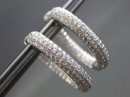 ESTATE WIDE 2.20CTW DIAMOND 14KT WHITE GOLD INSIDE OUT OVAL HOOP EARRINGS UNIQUE