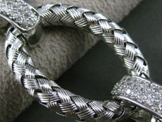 ESTATE WIDE & LONG 2.0CT DIAMOND 14KT WHITE GOLD OVAL WOVEN ROPE LINK BRACELET