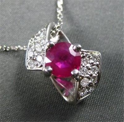 ESTATE 1.21CT DIAMOND & AAA RUBY 14KT WHITE GOLD BOW CLUSTER PENDANT CHAIN #1131