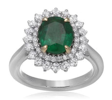 GIA CERTIFIED 3.01CT DIAMOND & AAA EMERALD 18KT 2 TONE GOLD HALO ENGAGEMENT RING