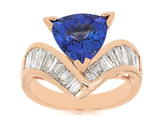 LARGE 3.85CT DIAMOND & AAA TANZANITE 14KT ROSE GOLD 3D TRILLION ENGAGEMENT RING
